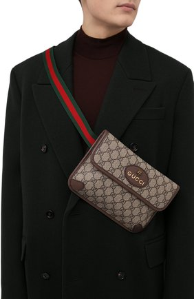 Мужская текстильная поясная сумка gg supreme GUCCI бежевого цвета, арт. 493930/9C2VT | Фото 2