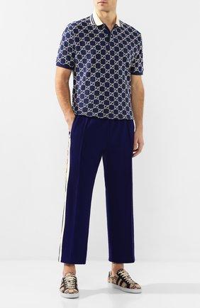 Мужские брюки GUCCI синего цвета, арт. 598853/XJBZ1 | Фото 2