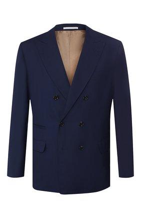Мужской пиджак из смеси шерсти и шелка BRUNELLO CUCINELLI синего цвета, арт. MHN217BPD | Фото 1