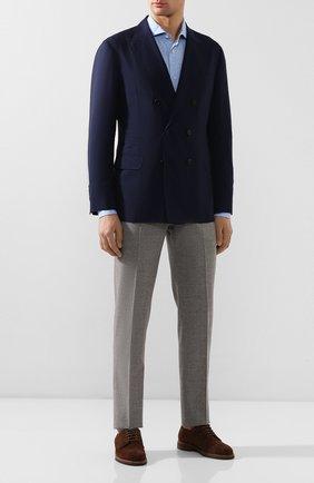 Мужской пиджак из смеси шерсти и шелка BRUNELLO CUCINELLI синего цвета, арт. MHN217BPD | Фото 2