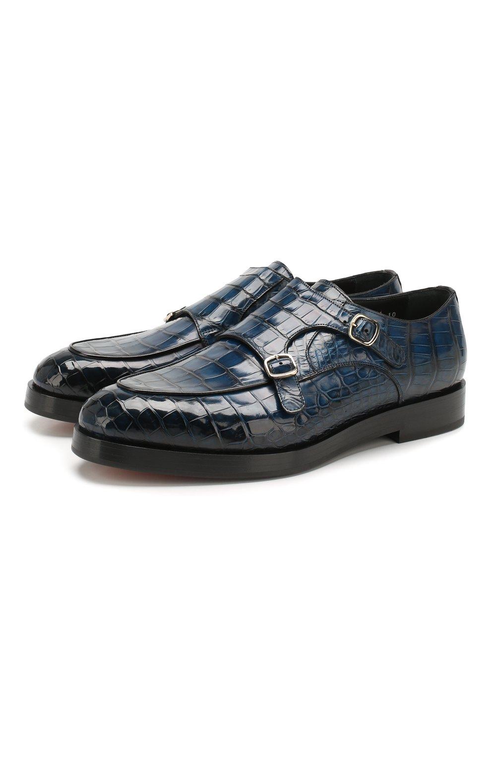 Мужские монки из кожи аллигатора SANTONI PRECIOUS синего цвета, арт. MPC016822BQ1MACQU52/AMIS | Фото 1