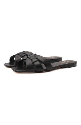 Женские кожаные шлепанцы nu pieds SAINT LAURENT черного цвета, арт. 571952/BDA00 | Фото 1