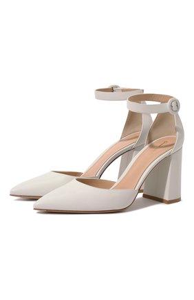 Женские кожаные туфли judy GIANVITO ROSSI белого цвета, арт. G40181.85RIC.VITBIAN   Фото 1 (Материал внутренний: Натуральная кожа; Подошва: Плоская; Каблук тип: Устойчивый; Каблук высота: Высокий)