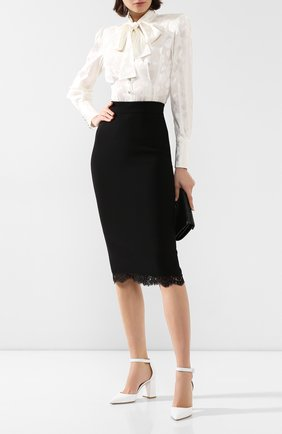 Женские кожаные туфли judy GIANVITO ROSSI белого цвета, арт. G40181.85RIC.VITBIAN   Фото 2 (Материал внутренний: Натуральная кожа; Подошва: Плоская; Каблук тип: Устойчивый; Каблук высота: Высокий)