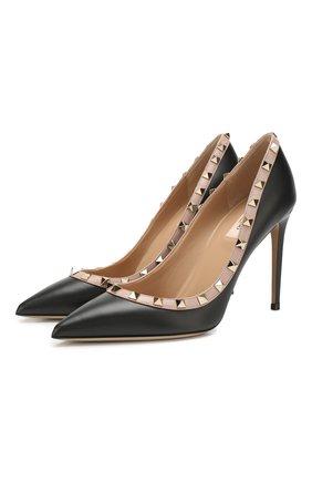 Женская кожаные туфли valentino garavani rockstud VALENTINO черного цвета, арт. TW2S0057/V0D | Фото 1