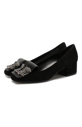 Женская замшевые туфли valentino garavani maison gryphons VALENTINO черного цвета, арт. TW2S0V29/ZCI | Фото 1