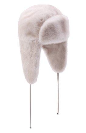 Женская шапка-ушанка из меха норки KUSSENKOVV кремвого цвета, арт. 092000024094 | Фото 1 (Материал: Натуральный мех)