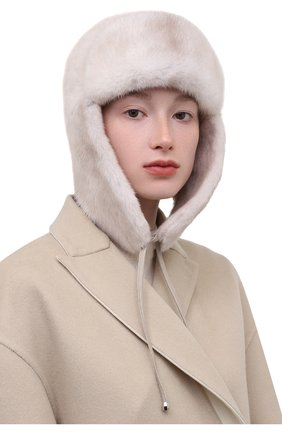 Женская шапка-ушанка из меха норки KUSSENKOVV кремвого цвета, арт. 092000024094 | Фото 2 (Материал: Натуральный мех)