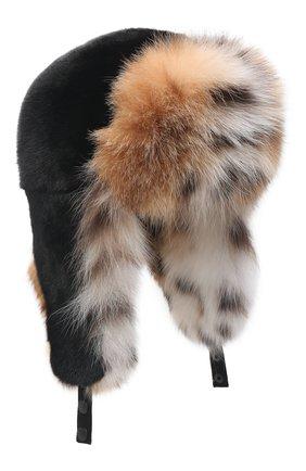 Женская шапка-ушанка из меха норки и рыси KUSSENKOVV черного цвета, арт. 092806054097   Фото 1 (Материал: Натуральный мех)