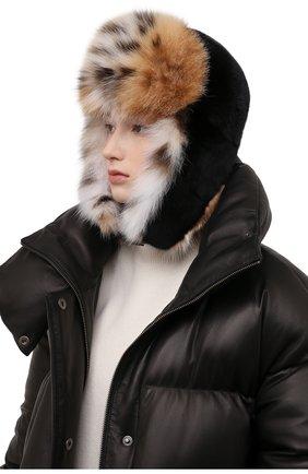 Женская шапка-ушанка из меха норки и рыси KUSSENKOVV черного цвета, арт. 092806054097   Фото 2 (Материал: Натуральный мех)