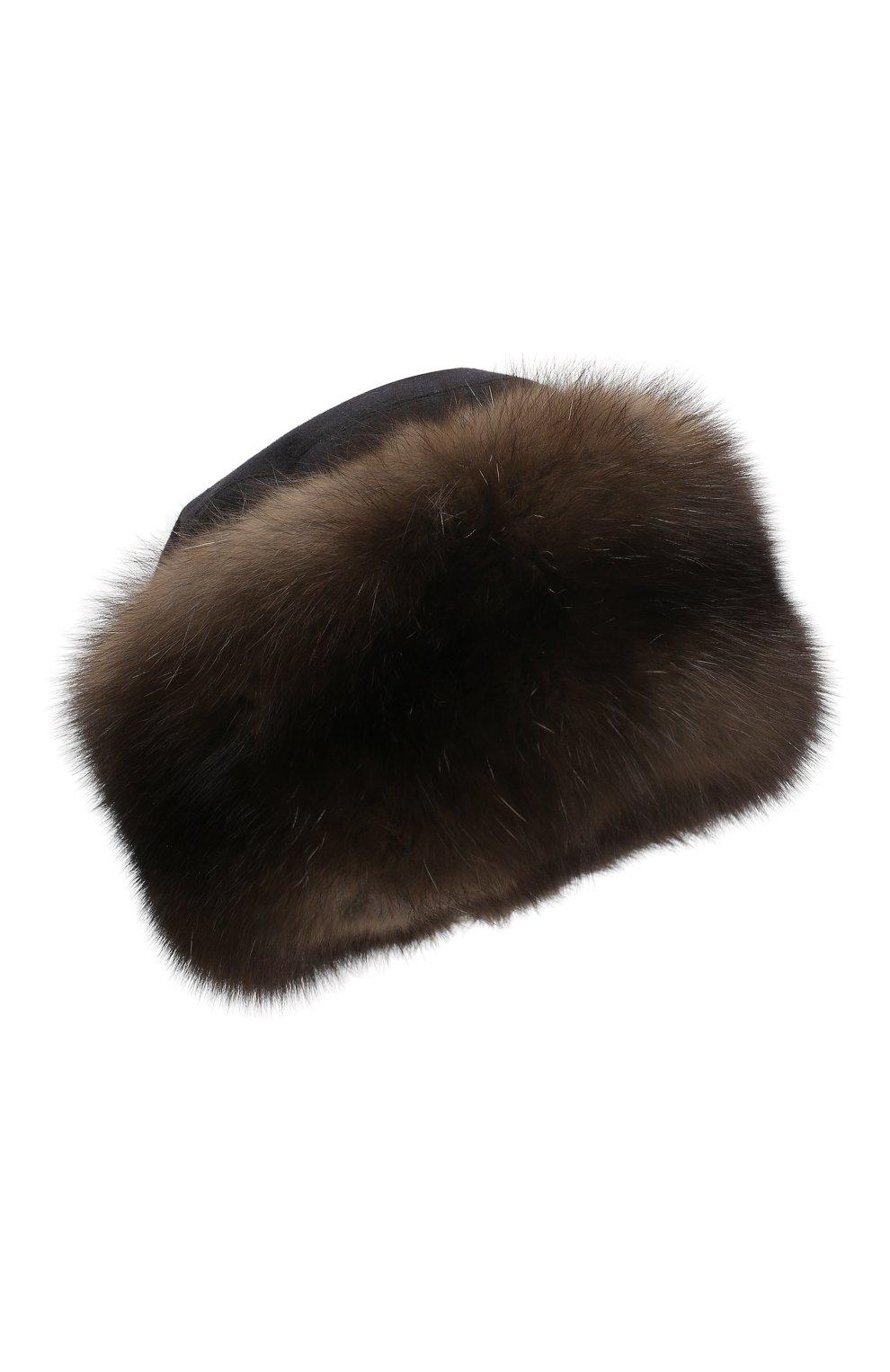 Женская кашемировая шапка с мехом соболя KUSSENKOVV коричневого цвета, арт. 069103549547 | Фото 1