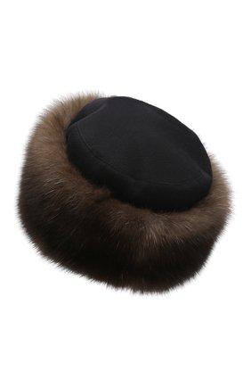 Женская кашемировая шапка с мехом соболя KUSSENKOVV коричневого цвета, арт. 069103549547 | Фото 2