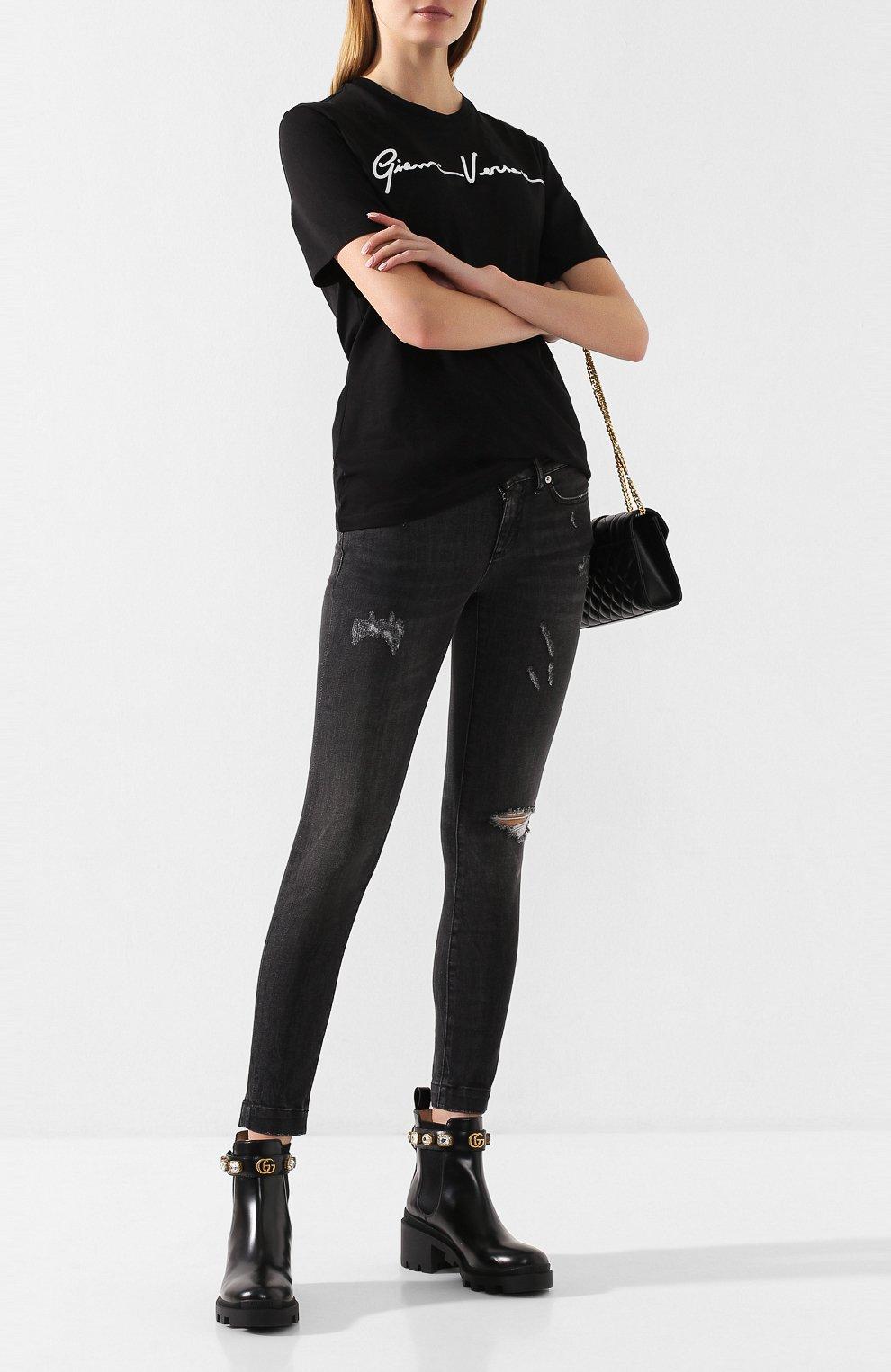 Женские джинсы с потертостями DOLCE & GABBANA темно-серого цвета, арт. FTAH7D/G899D | Фото 2