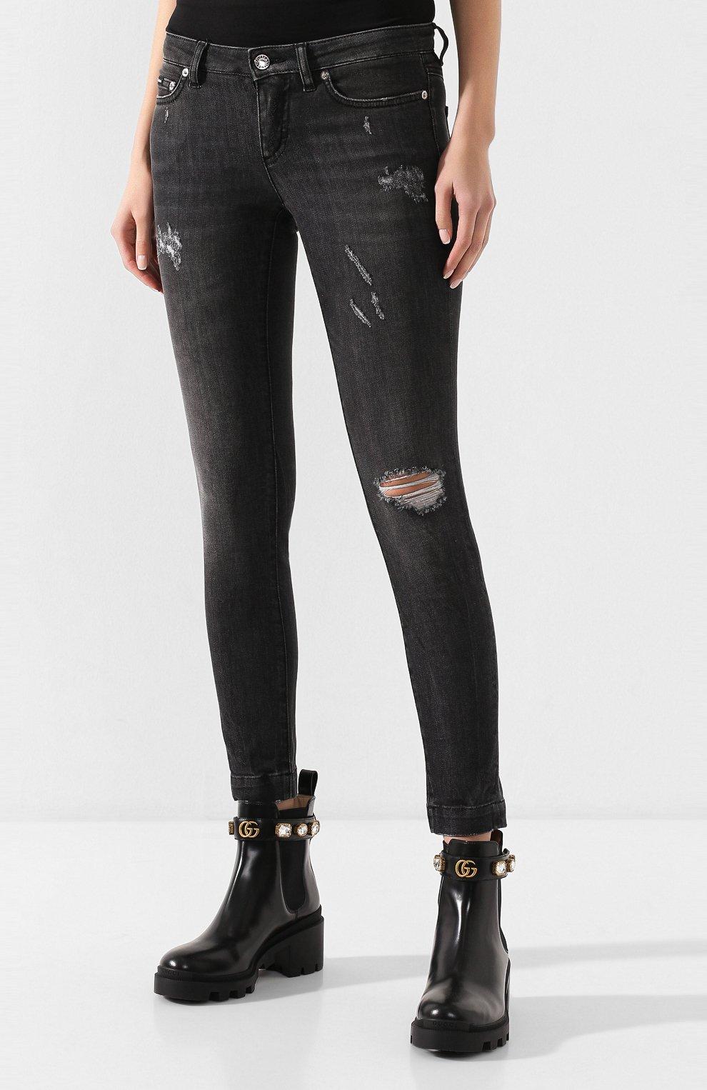 Женские джинсы с потертостями DOLCE & GABBANA темно-серого цвета, арт. FTAH7D/G899D | Фото 3