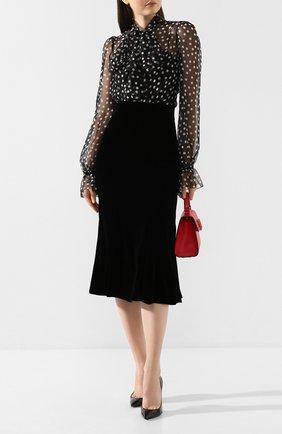 Женская бархатная юбка DOLCE & GABBANA черного цвета, арт. F4BRKT/FUVKQ | Фото 2