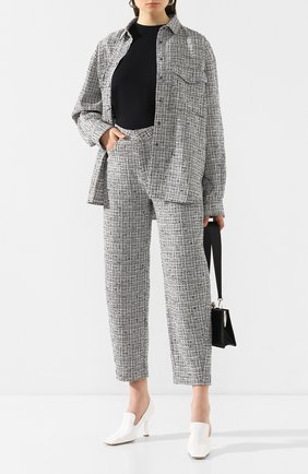Женские брюки из смеси хлопка и льна TOTÊME черно-белого цвета, арт. N0VARA 201-209-702   Фото 2