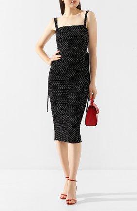 Женское шелковое платье DOLCE & GABBANA черно-белого цвета, арт. F69Q4T/FSASB   Фото 2
