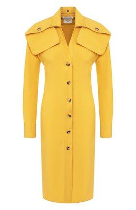 Женское хлопковое платье BOTTEGA VENETA желтого цвета, арт. 601033/VKH50 | Фото 1