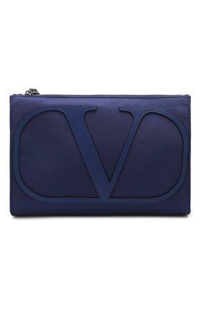 Мужская текстильная борсетка valentino garavani vlogo VALENTINO темно-синего цвета, арт. TY2B0758/MLI | Фото 1