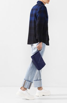 Мужская текстильная борсетка valentino garavani vlogo VALENTINO темно-синего цвета, арт. TY2B0758/MLI | Фото 2