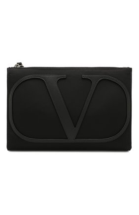 Мужская текстильная борсетка valentino garavani vlogo VALENTINO черного цвета, арт. TY2B0758/MLI | Фото 1