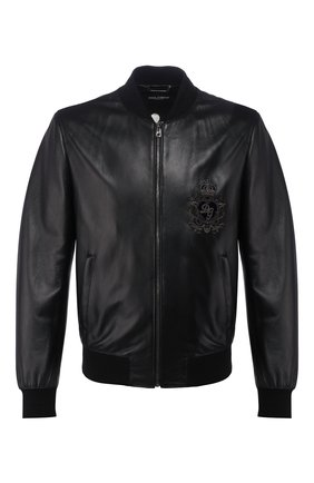 Мужской кожаный бомбер DOLCE & GABBANA черного цвета, арт. G9QS4Z/HULFY | Фото 1