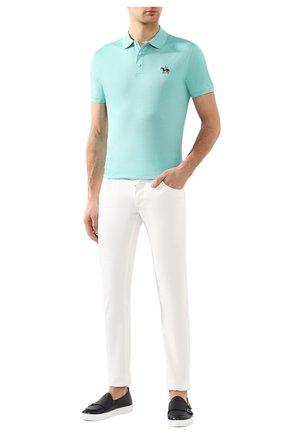 Мужское хлопковое поло RALPH LAUREN голубого цвета, арт. 790508036 | Фото 2