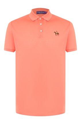 Мужское хлопковое поло RALPH LAUREN оранжевого цвета, арт. 790508036 | Фото 1
