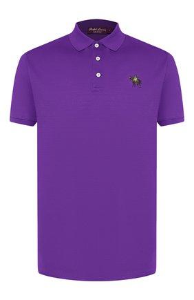 Мужское хлопковое поло RALPH LAUREN фиолетового цвета, арт. 790508036 | Фото 1
