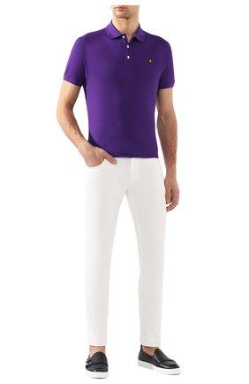 Мужское хлопковое поло RALPH LAUREN фиолетового цвета, арт. 790508036 | Фото 2