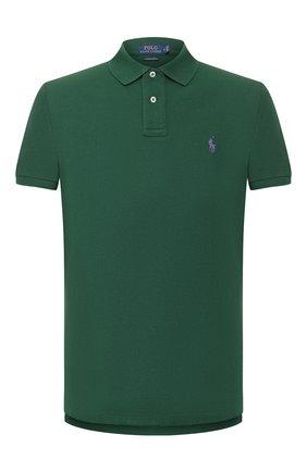 Мужское хлопковое поло POLO RALPH LAUREN зеленого цвета, арт. 710782592   Фото 1