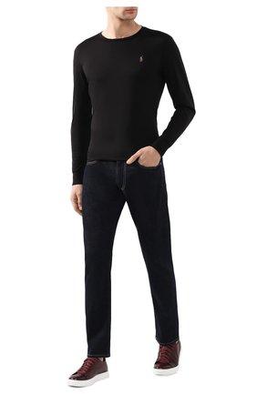 Мужская хлопковый лонгслив POLO RALPH LAUREN черного цвета, арт. 710760121   Фото 2