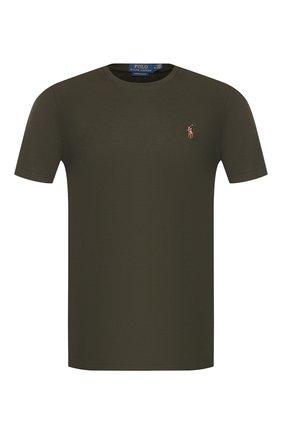 Мужская хлопковая футболка POLO RALPH LAUREN темно-зеленого цвета, арт. 710740727 | Фото 1 (Материал внешний: Хлопок; Принт: Без принта; Длина (для топов): Стандартные; Рукава: Короткие; Стили: Кэжуэл; Мужское Кросс-КТ: Футболка-одежда)