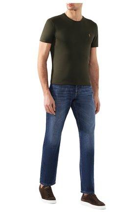 Мужская хлопковая футболка POLO RALPH LAUREN темно-зеленого цвета, арт. 710740727 | Фото 2 (Материал внешний: Хлопок; Принт: Без принта; Длина (для топов): Стандартные; Рукава: Короткие; Стили: Кэжуэл; Мужское Кросс-КТ: Футболка-одежда)