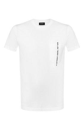 Мужская хлопковая футболка DIESEL белого цвета, арт. 00SASJ/0AAXJ | Фото 1