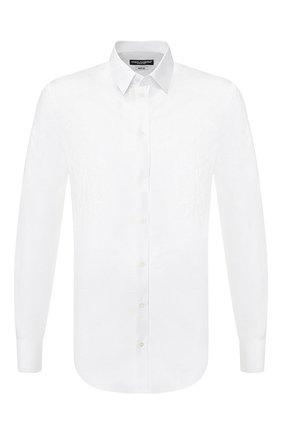 Мужская хлопковая сорочка DOLCE & GABBANA белого цвета, арт. G5EJ1T/FJ5GE | Фото 1