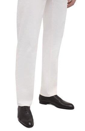 Мужские кожаные оксфорды BRIONI темно-коричневого цвета, арт. QEG90L/P7731 | Фото 3