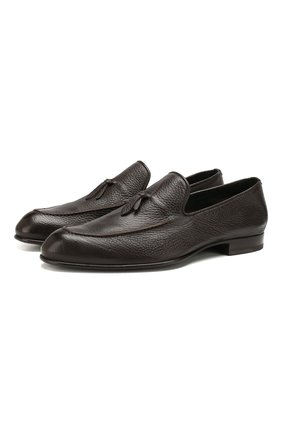 Мужские кожаные лоферы BRIONI темно-коричневого цвета, арт. QFDC0L/P7731 | Фото 1