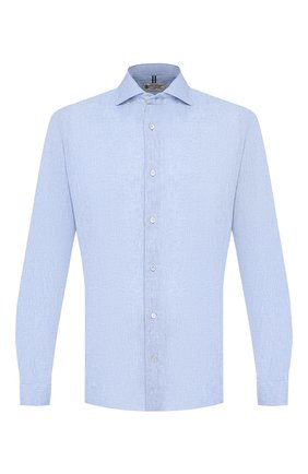 Мужская рубашка из смеси льна и хлопка LUIGI BORRELLI голубого цвета, арт. EV08/NAND0/TS9029   Фото 1