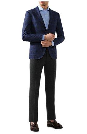 Мужская рубашка из смеси льна и хлопка LUIGI BORRELLI голубого цвета, арт. EV08/NAND0/TS9029 | Фото 2