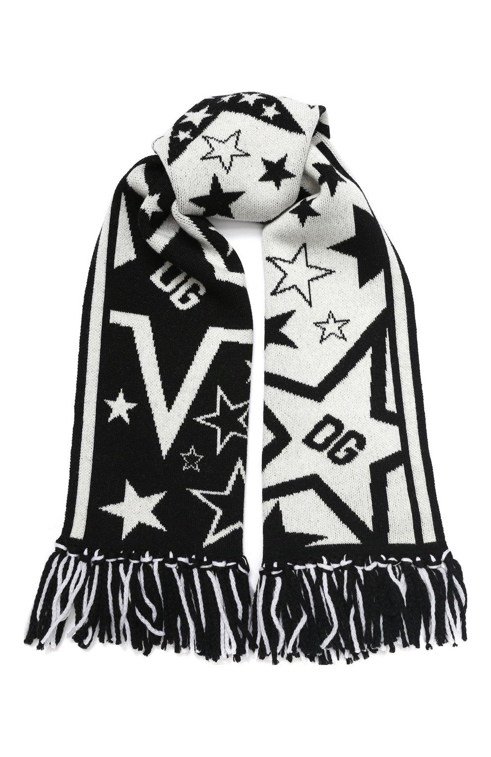 Детский шарф из шерсти и кашемира DOLCE & GABBANA черно-белого цвета, арт. LBKA37/JAVTW   Фото 1