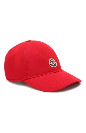 Детская хлопковая бейсболка MONCLER красного цвета, арт. F1-954-3B100-00-04863 | Фото 1