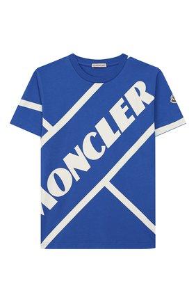 Детская хлопковая футболка MONCLER синего цвета, арт. F1-954-8C701-20-83907/12-14A | Фото 1
