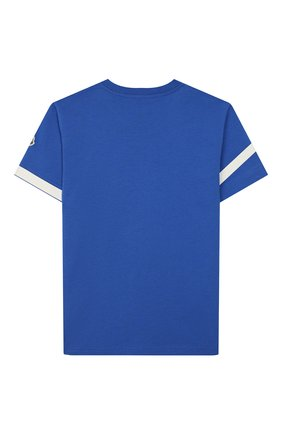 Детская хлопковая футболка MONCLER синего цвета, арт. F1-954-8C701-20-83907/12-14A | Фото 2