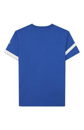 Детская хлопковая футболка MONCLER синего цвета, арт. F1-954-8C701-20-83907/4-6A | Фото 2