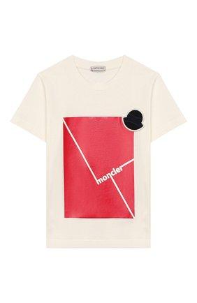 Детская хлопковая футболка MONCLER белого цвета, арт. F1-954-8C702-20-83907/8-10A | Фото 1