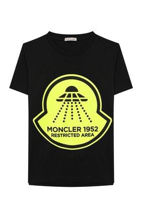 Детская хлопковая футболка MONCLER черного цвета, арт. F1-954-8C706-20-83907/8-10A | Фото 1