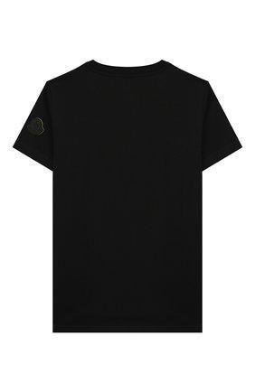 Детская хлопковая футболка MONCLER черного цвета, арт. F1-954-8C706-20-83907/8-10A | Фото 2