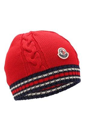 Детского хлопковая шапка MONCLER красного цвета, арт. F1-954-9Z700-20-V9072 | Фото 1