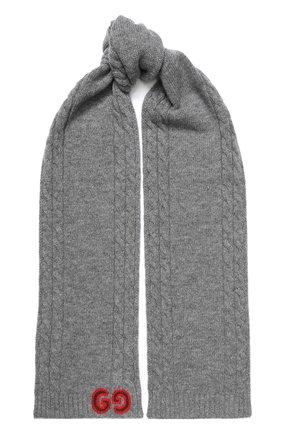 Детский шерстяной шарф GUCCI серого цвета, арт. 574730/4K206 | Фото 1